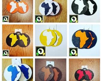 African Map Earrings