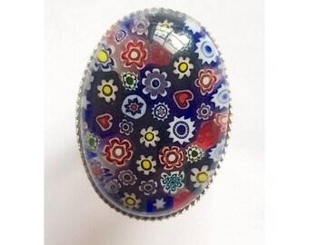 Beautiful millefiori glass statement ring
