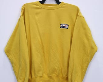 Vintage ELLESSE perugia italia Sweatshirt small Embroidery Logo spell out Medium size Yellow colour
