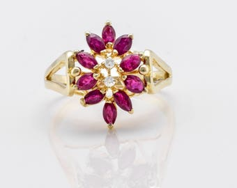 Delightful Retro Ruby and Diamond Flower Ring in 14k Yellow Gold **FREE SHIPPING**