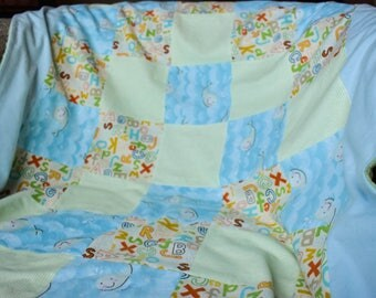 Whales & ABCs Minky and Flannel Baby Blanket | Soft Blue and Green