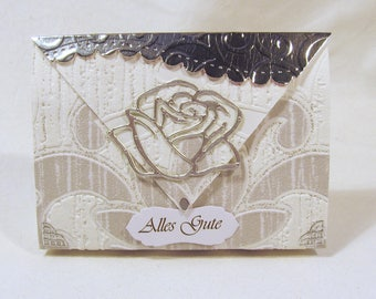 Small gift bag + magnetic clasp + label rose silver/White manual work