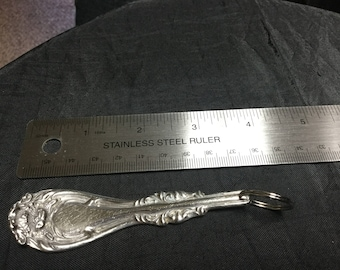"""Silver Plated Spoon keychain 4 3/4 """" length"""