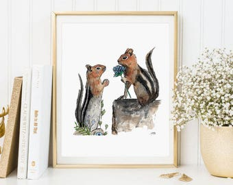 Illustration squirrels, Valentine prints, Valentine Day, watercolor, watercolor, animal prints A4, A5, A6