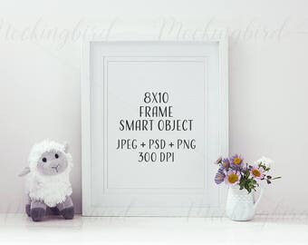 Nursery Print mockup 8x10 16x20 white frame mockup, png jpeg psd smart object, styled stock photography, baby, toy, flowers