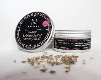 N A T U R A L | body butter with Lavender & Grapefruit flavor | handmade | bath gift set | Christmas gift