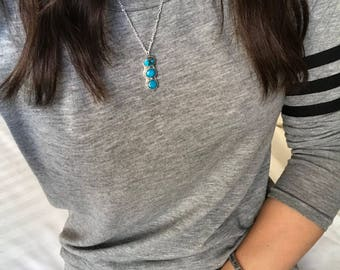 Turquoise drop pendant sterling silver necklace
