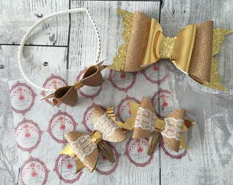 Handmade - Gold Sparkle Glitter  Bow - Gold Glitter Bow - Luxury Party Bow