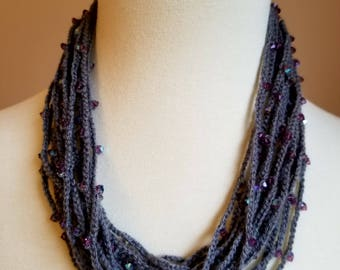 Crocheted Beaded Necklace/Crochet Necklace/Gift For Her