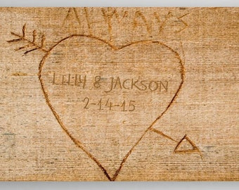 Personalized Cupid's Arrow Canvas Personalized Print - Wood Grain Background - Personalized Family Print - Home Wall Decor - Wall Art