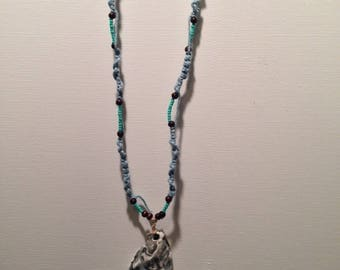 Blue Braided Sea Shell Necklace