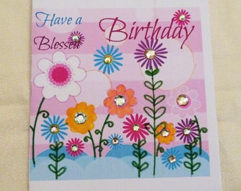 Handmade Greeting Card, Birthday Greeting Card,  have a Blessed Birthday Card, Made in the USA, #9