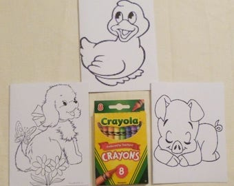 Kids set of 3 Color Me Cards and a Pack of Colors, Child's All Occasion Card, Handmade Greeting Cards, Made in the USA, #24