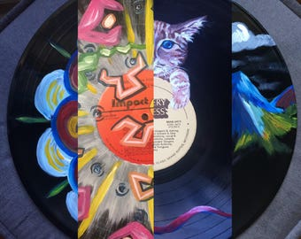 Custom Acrylic Painting on Vinyl LP Record