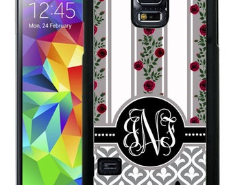 Monogrammed Rubber Case For Samsung Note 3, Note 4, Note 5, or Note 8- Gray Black Roses Stripes