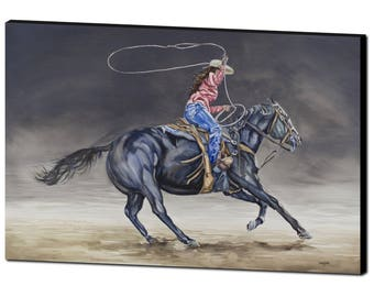 ART PRINT - FREE shipping- Cowgirl Roping- western painting