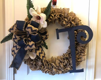 Handmade Burlap wreath Front Door