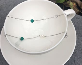 Turquoise, Freshwater Pearls and Sterling Silver