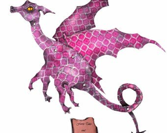 Mauve Dragon, pink dragon, paper Dragon, articulated, posable, digital Download, art doll