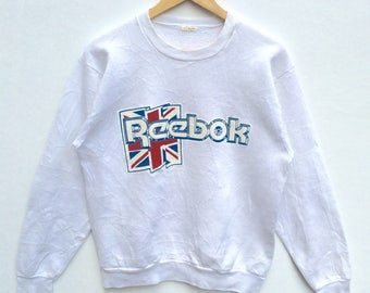 Reebok Sweatshirt White colour Big Logo Embroidery Sweat Medium Size Jumper Pullover Jacket Sweater Shirt Vintage 90's