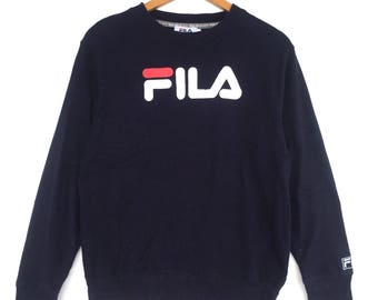Fila Sweatshirt navy blue colour Big Logo Embroidery Sweat Medium Size Jumper Pullover Jacket Sweater Shirt Vintage 90's