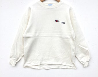 Champion mate Sweatshirt small Logo spell out Embroidery Sweat Medium Size Jumper Pullover Jacket Sweater Shirt Vintage 90's