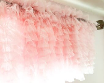 Pink Tulle Valance - Light Pink Ruffled Curtain Valance - Pink Ruffle Window Treatment for Baby Girls Nursery- Pink Valance- Kitchen Valance