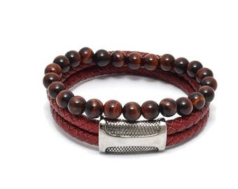 Red Leather and Red Tiger Eye Bracelet Set