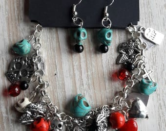Day Of The Dead charm bracelet and Earrings