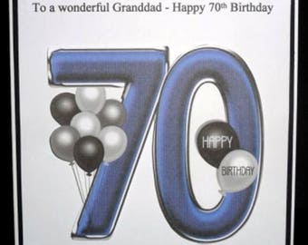 Personalised Handmade Balloons 70th Birthday Card Dad Grandad Uncle Brother