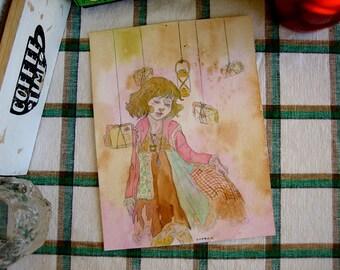 Mori Girl and love letters - mori kei original watercolour illustration 15x19.8 cm