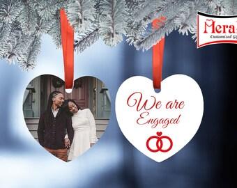 Engaged photo Ornament Aluminium two Sided Heart Shape
