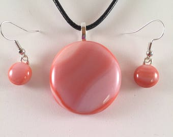 Terra Cotta Wave Pendant/Earring Set