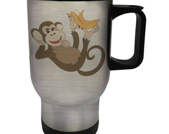 Monkey with Banana Stainless Steel Thermo Travel Mug 14oz u672t
