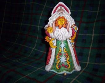 Hand Painted Ceramic Santa with Sun #12
