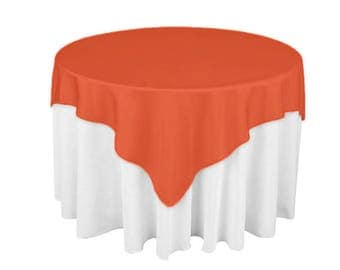 Coral 60 X 60 Square Overlay 100% Woven Polyester Tablecloth For Banquets,  Weddings U0026