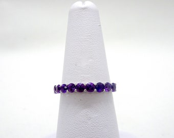 Ladies White Gold Amethyst Half Eternity Ring-www.previouslylovedtreasures.com