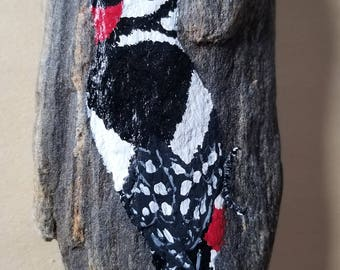 Great Spotted Woodpecker Painted Rock
