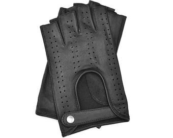 Leather Fingerless Driving Gloves in Black for Woman