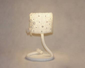 Crochet Lamp Shade White Wabi Sabi Lamp Special Needs Mom Gift Wife Gift For Girlfriend Ideas Bedroom Lamp Children's Room vintage lamp