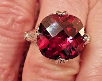 Garnet Checkerboard Round Cut Gemstone Sterling Silver Plated Ring Size - 7