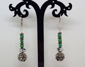 Crystal and Wood Dangle Earrings