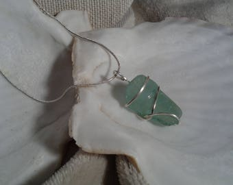 Green Sea Glass Bottle Necklace