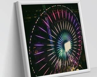 FERRIS WHEEL - NIGHT | Aerial Photography, Digital Print, Wall Art Decor, Art Prints, Structures, Amusement Park