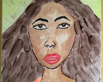 """Original Acrylic Painting On 9"""" X 12"""" Canvas Signed By Artist Colorful Glitter Ethnic Woman"""