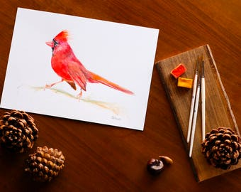 Red Cardinal Bird Watercolor Illustration Hand Painted Northern Cardinal Bird Painting Red Bird Nursery Wall Art Decor Bird Lover Gift