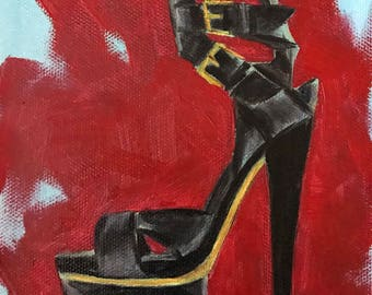 Original oil painting on canvas panel, shoe still life, 5x7