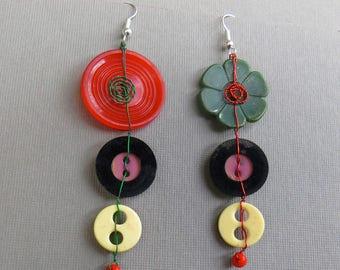 Fun Multi-Colored Vintage Button Drop Earrings