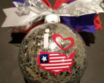 Christmas Ornament or 4th of July decoration - Silver
