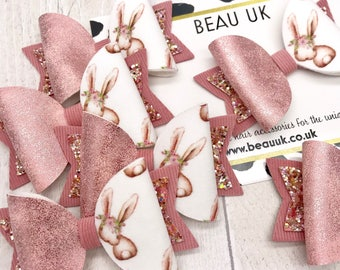 Rose gold bunny fabric & glitter Medium hair bow clip headband hair accessories nylon hair piece